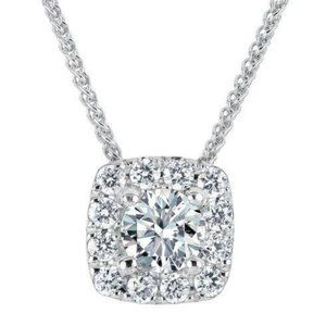 1.6 Ct Round Halo Diamond Necklace Pendant